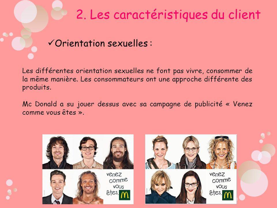 Orientation sexuelles : 2. Les caractéristiques du client Les différentes orientation sexuelles ne font pas vivre, consommer de la même manière. Les c