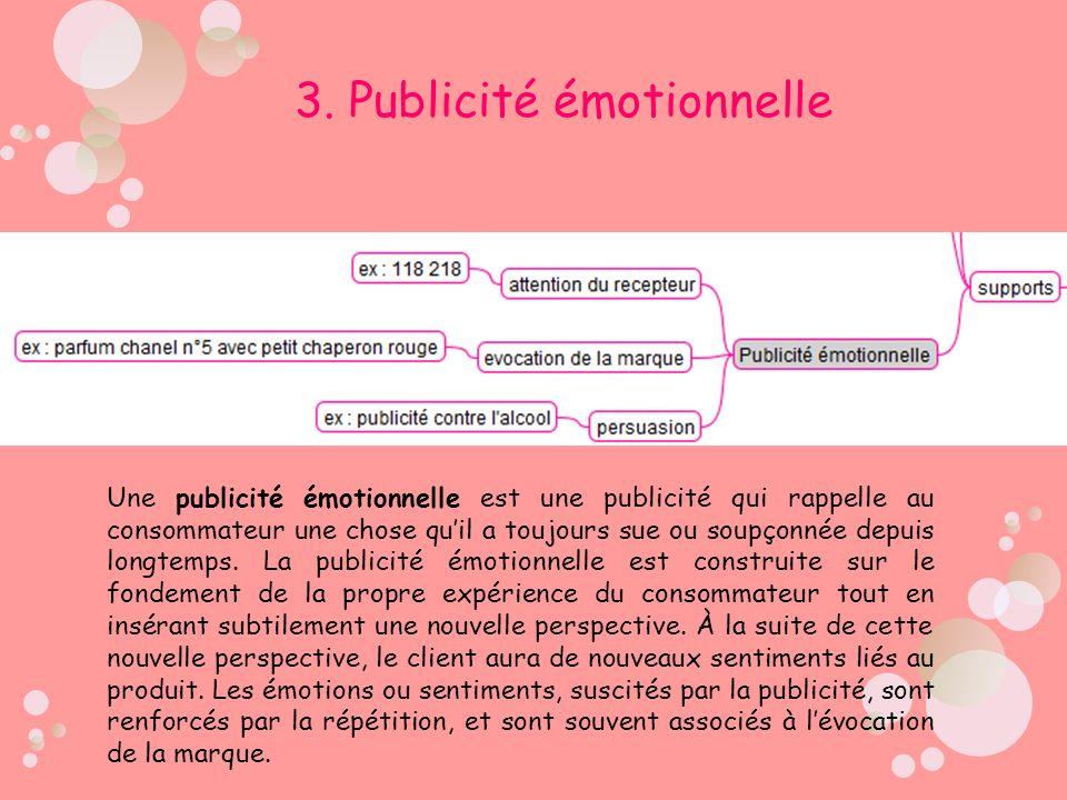 3. Publicité émotionnelle Une publicité émotionnelle est une publicité qui rappelle au consommateur une chose quil a toujours sue ou soupçonnée depuis