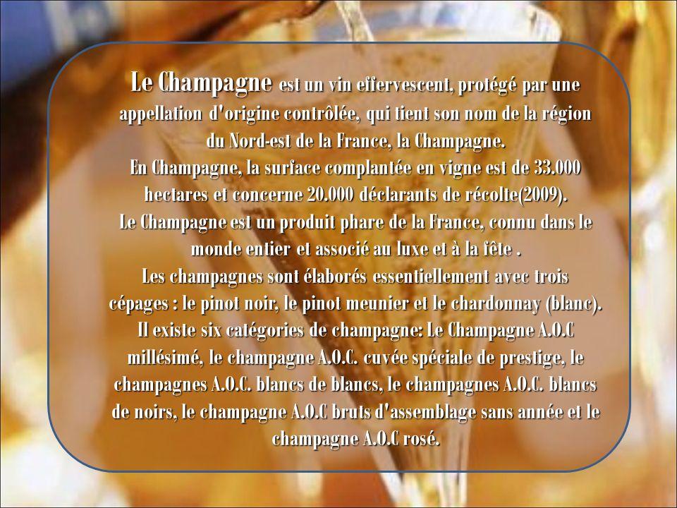 Le Champagne est un vin effervescent, protégé par une appellation d origine contrôlée, qui tient son nom de la région du Nord-est de la France, la Champagne.