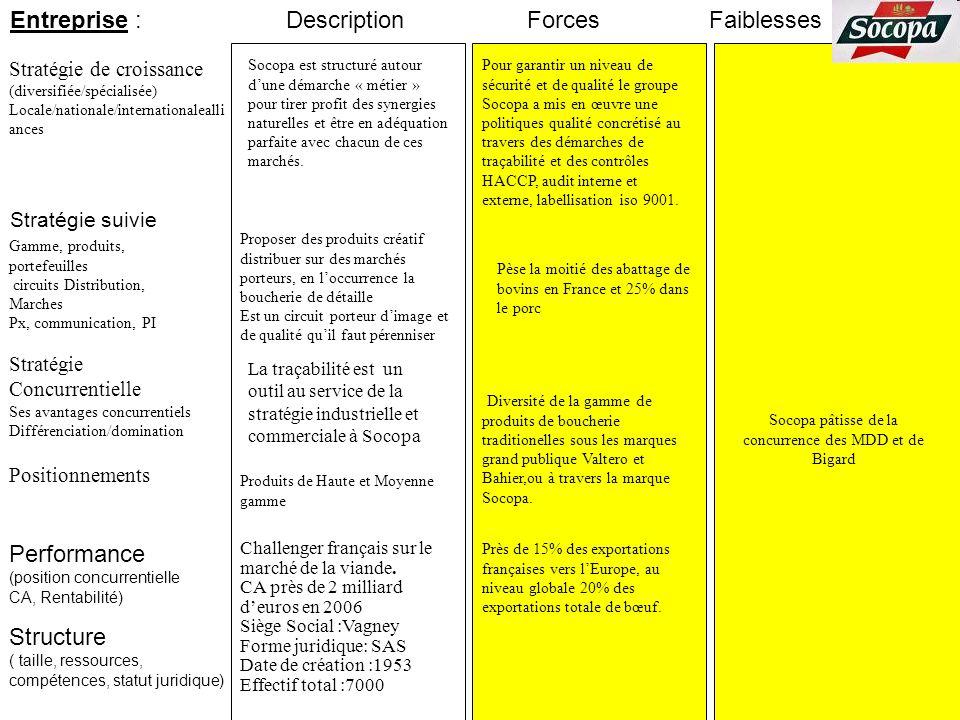 Entreprise : Stratégie suivie Stratégie de croissance (diversifiée/spécialisée) Locale/nationale/internationalealli ances ForcesFaiblesses Performance