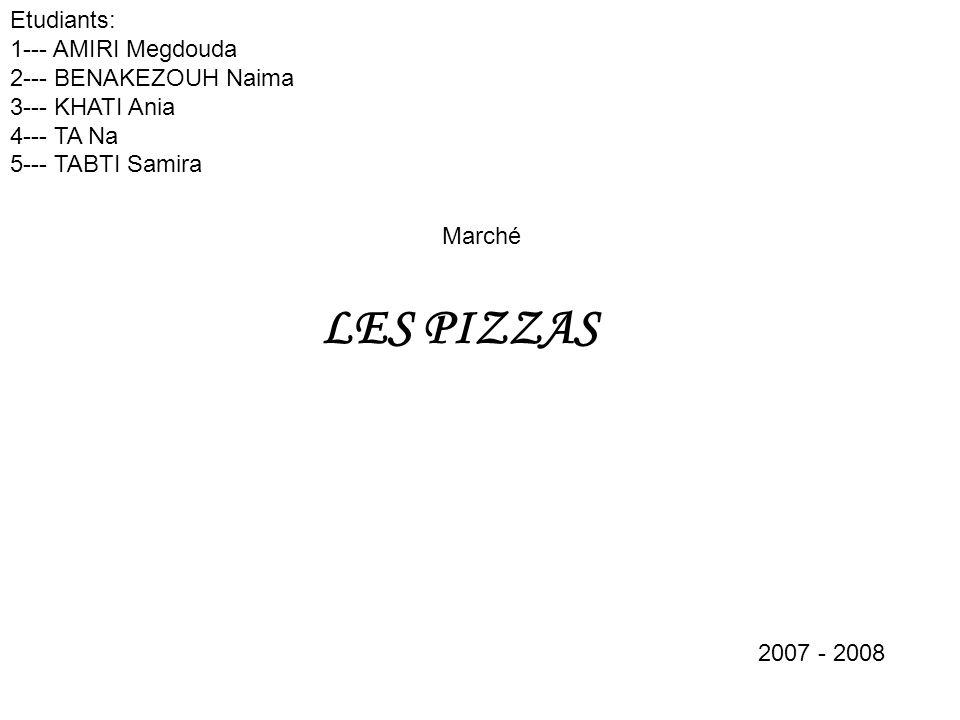 Marché LES PIZZAS Etudiants: 1--- AMIRI Megdouda 2--- BENAKEZOUH Naima 3--- KHATI Ania 4--- TA Na 5--- TABTI Samira 2007 - 2008