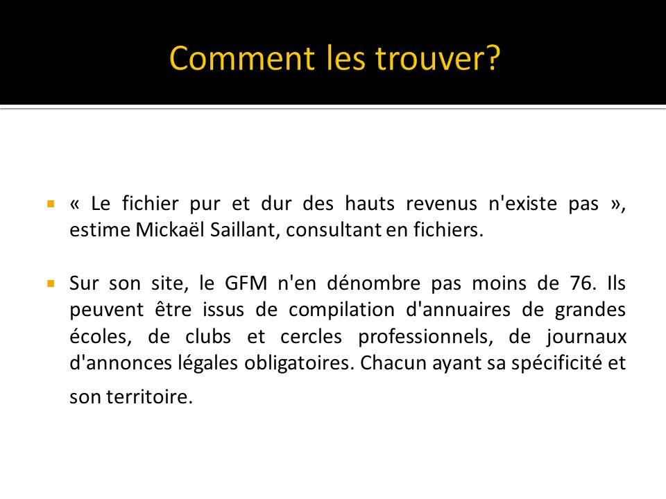 « Le fichier pur et dur des hauts revenus n existe pas », estime Mickaël Saillant, consultant en fichiers.