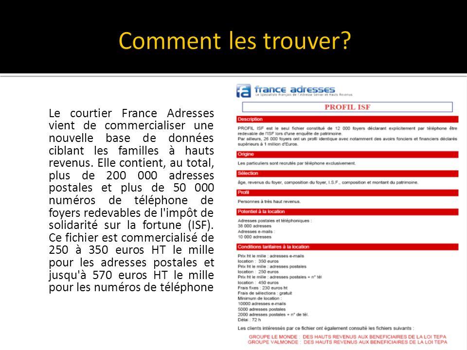 Le courtier France Adresses vient de commercialiser une nouvelle base de données ciblant les familles à hauts revenus.