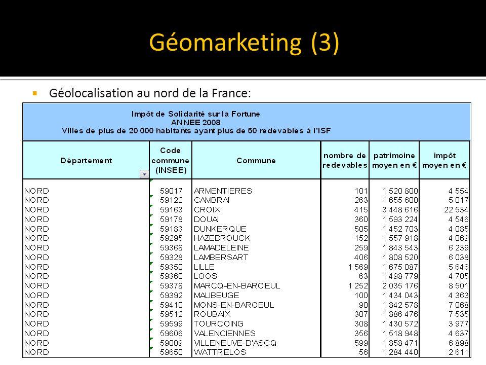 Géolocalisation au nord de la France: Géomarketing (3)