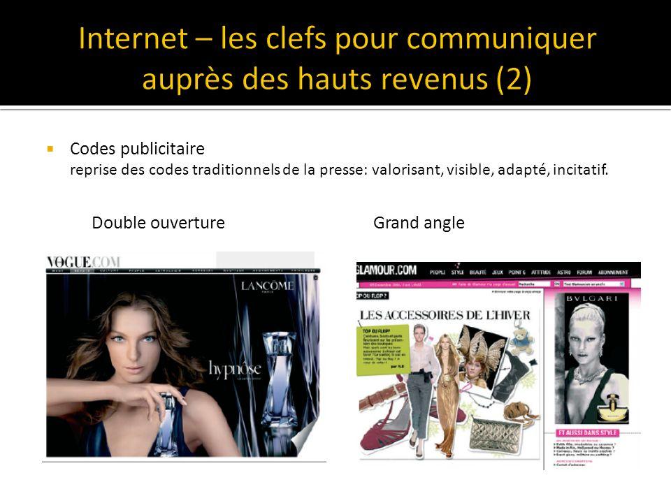 Codes publicitaire reprise des codes traditionnels de la presse: valorisant, visible, adapté, incitatif.