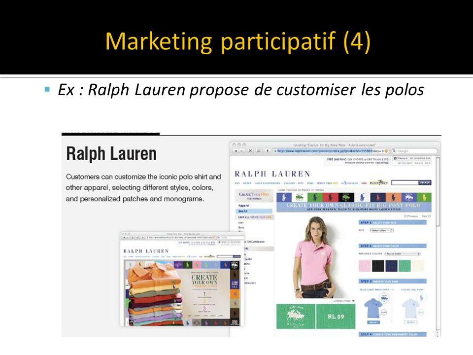 Ex : Ralph Lauren propose de customiser les polos