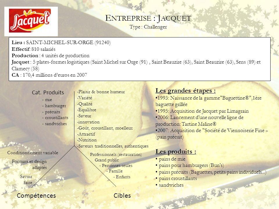 E NTREPRISE : J ACQUET Type : Challenger Lieu : SAINT-MICHEL-SUR-ORGE (91240) Effectif: 810 salariés Production : 4 unités de production Jacquet : 5 p