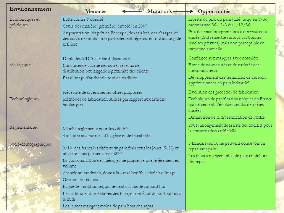 Environnement Économiques et politiques Stratégiques Technologiques Réglementaires Socio-démographiques Lutte contre l obésité Cours des matières prem