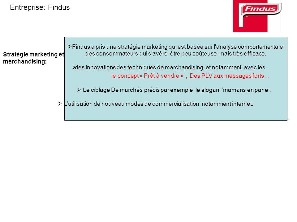 Stratégie marketing et merchandising: Findus a pris une stratégie marketing qui est basée sur l'analyse comportementale des consommateurs qui savère ê