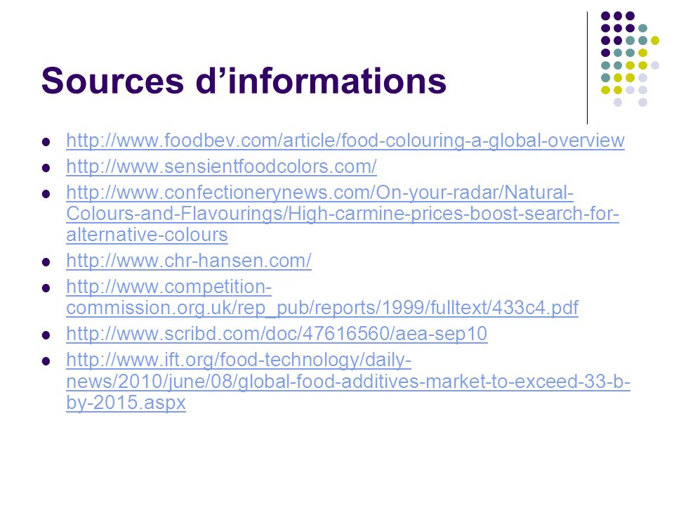 Sources dinformations http://www.foodbev.com/article/food-colouring-a-global-overview http://www.sensientfoodcolors.com/ http://www.confectionerynews.