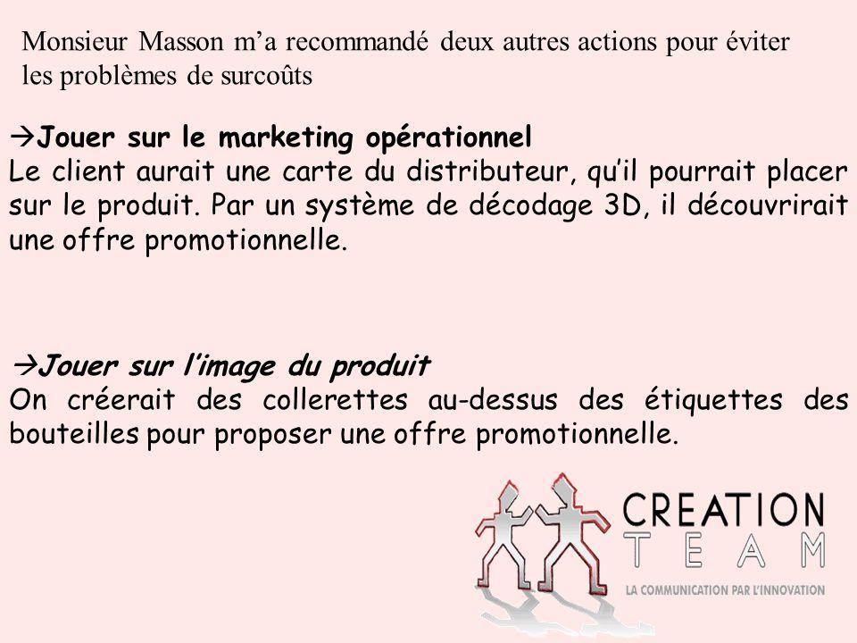 Monsieur Masson ma recommandé deux autres actions pour éviter les problèmes de surcoûts Jouer sur le marketing opérationnel Le client aurait une carte du distributeur, quil pourrait placer sur le produit.