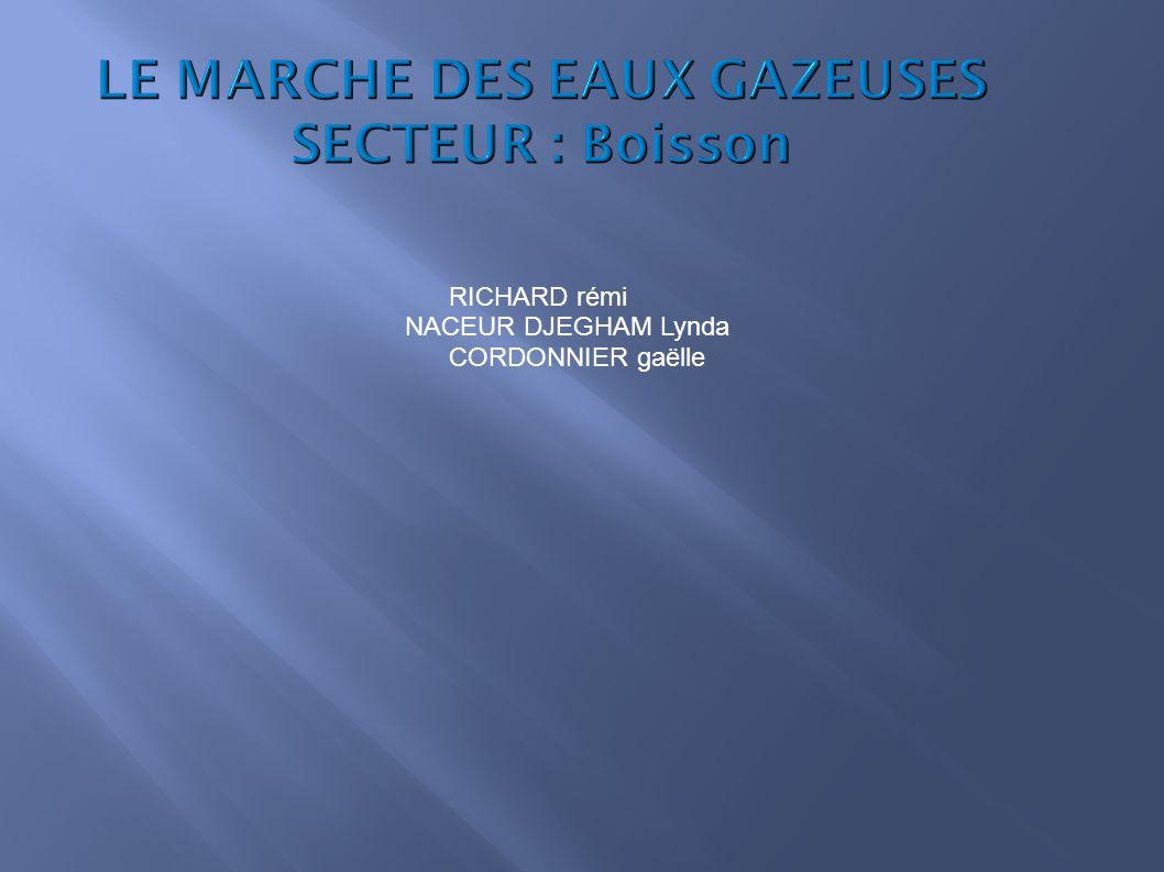 LE MARCHE DES EAUX GAZEUSES SECTEUR : Boisson RICHARD rémi NACEUR DJEGHAM Lynda CORDONNIER gaëlle