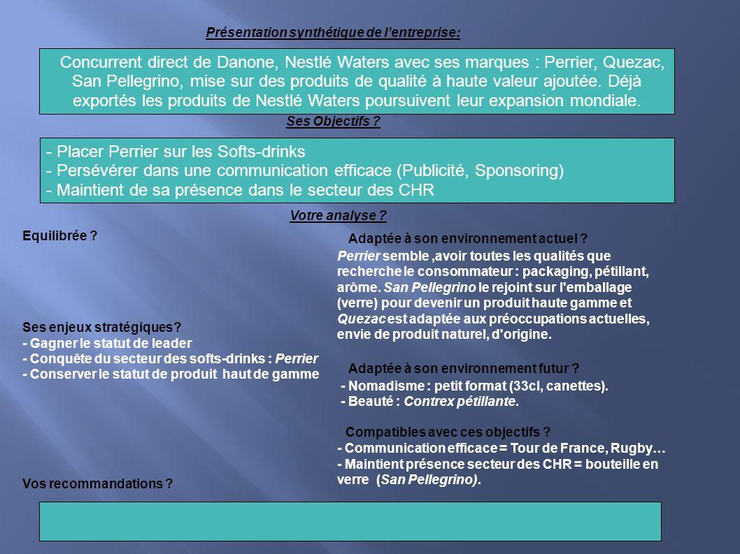 Présentation synthétique de lentreprise: Concurrent direct de Danone, Nestlé Waters avec ses marques : Perrier, Quezac, San Pellegrino, mise sur des p