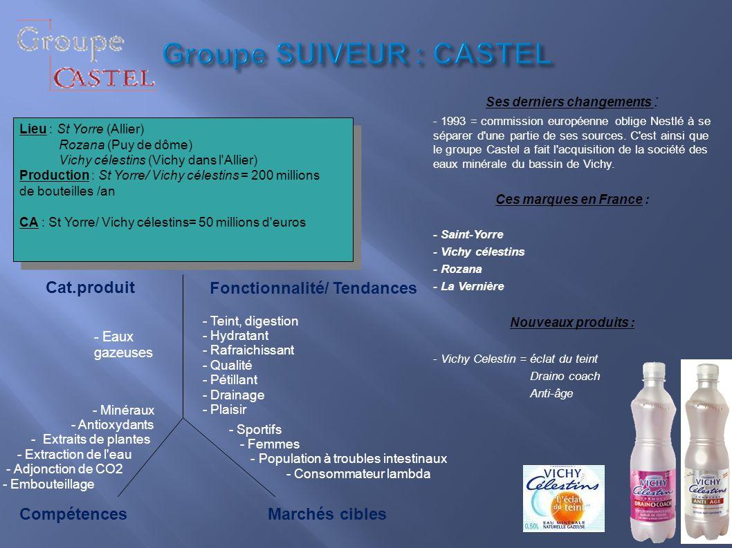Groupe SUIVEUR : CASTEL Groupe SUIVEUR : CASTEL Ses derniers changements : - 1993 = commission européenne oblige Nestlé à se séparer d'une partie de s