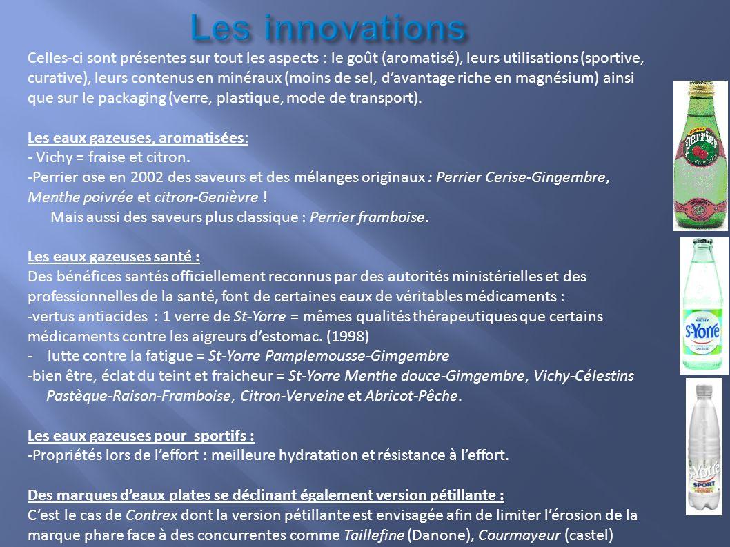 Les innovations Celles-ci sont présentes sur tout les aspects : le goût (aromatisé), leurs utilisations (sportive, curative), leurs contenus en minéra