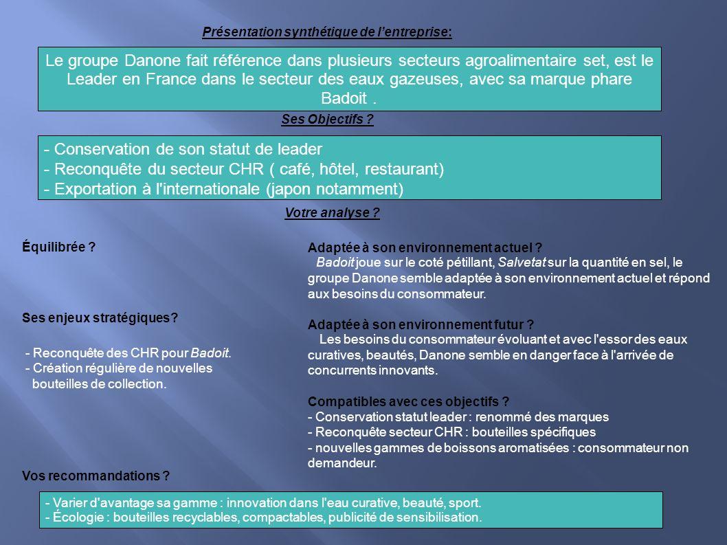 Présentation synthétique de lentreprise: Le groupe Danone fait référence dans plusieurs secteurs agroalimentaire set, est le Leader en France dans le