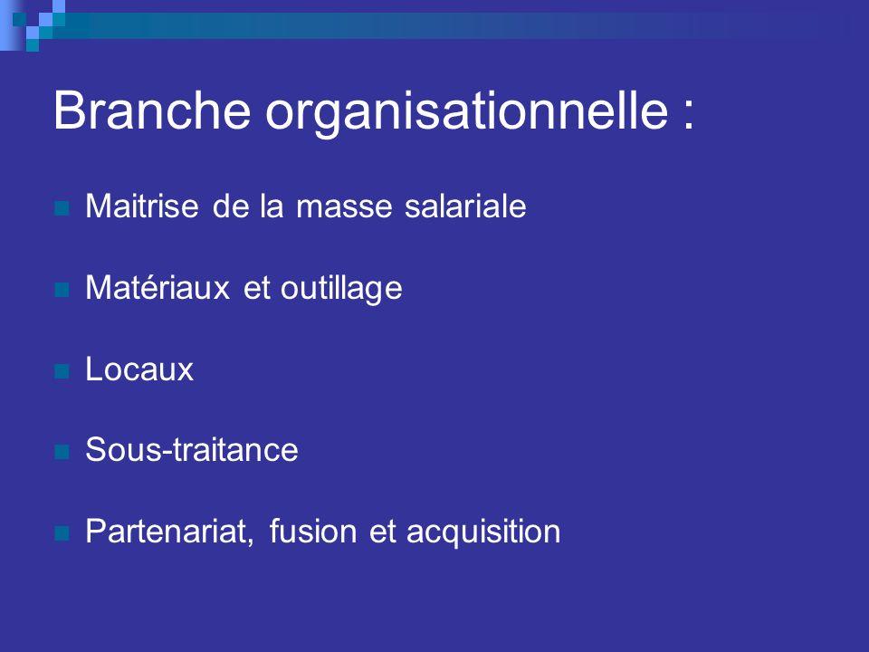 Branche organisationnelle : Maitrise de la masse salariale Matériaux et outillage Locaux Sous-traitance Partenariat, fusion et acquisition