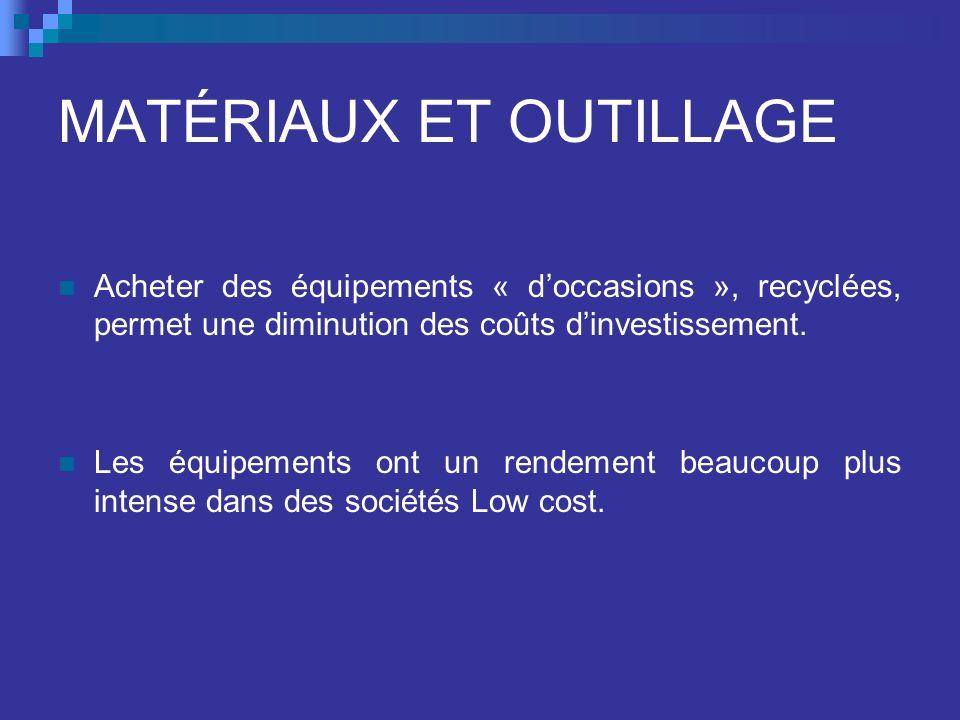 MATÉRIAUX ET OUTILLAGE Acheter des équipements « doccasions », recyclées, permet une diminution des coûts dinvestissement.