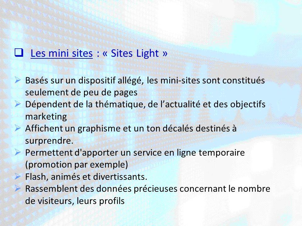 Les mini sites : « Sites Light » Basés sur un dispositif allégé, les mini-sites sont constitués seulement de peu de pages Dépendent de la thématique, de lactualité et des objectifs marketing Affichent un graphisme et un ton décalés destinés à surprendre.