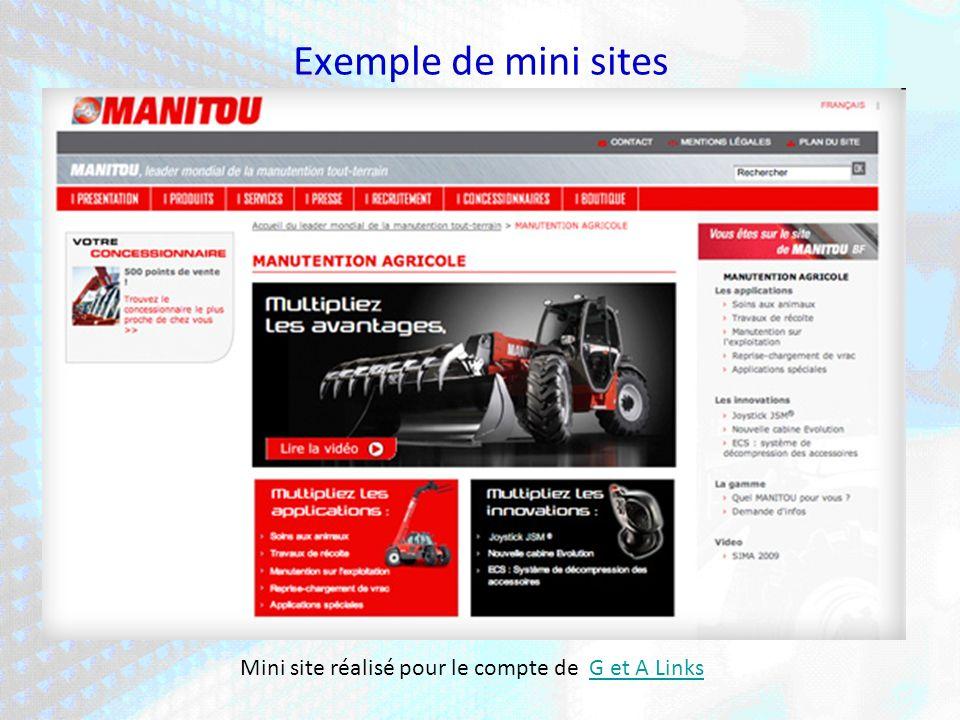 Exemple de mini sites Mini site réalisé pour le compte de G et A LinksG et A Links