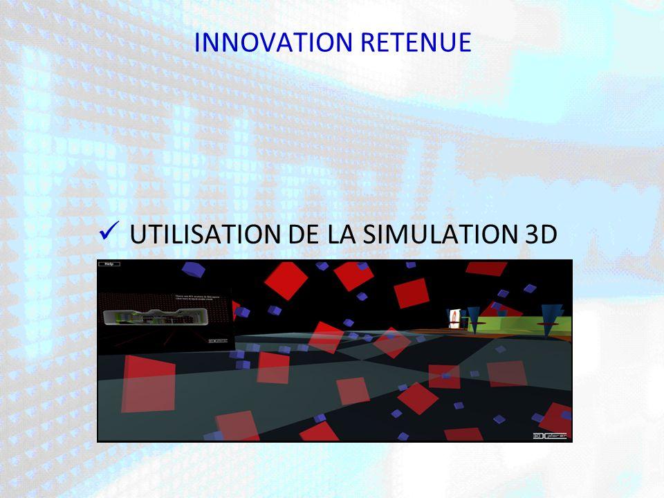 INNOVATION RETENUE UTILISATION DE LA SIMULATION 3D