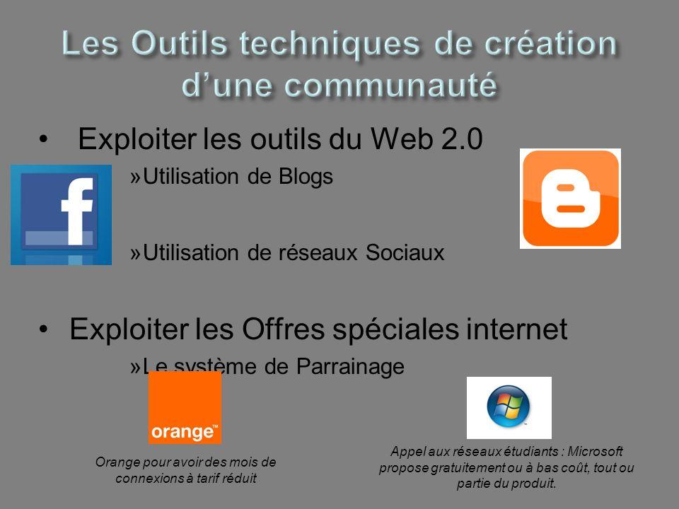 Exploiter les outils du Web 2.0 »Utilisation de Blogs »Utilisation de réseaux Sociaux Exploiter les Offres spéciales internet »Le système de Parrainag