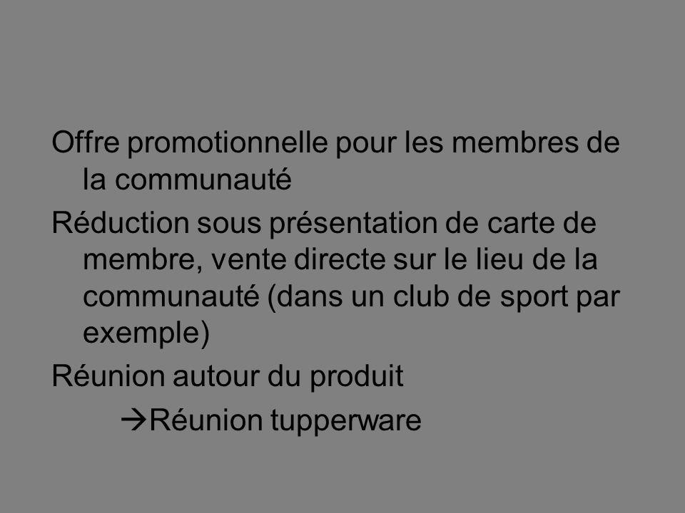 Offre promotionnelle pour les membres de la communauté Réduction sous présentation de carte de membre, vente directe sur le lieu de la communauté (dan