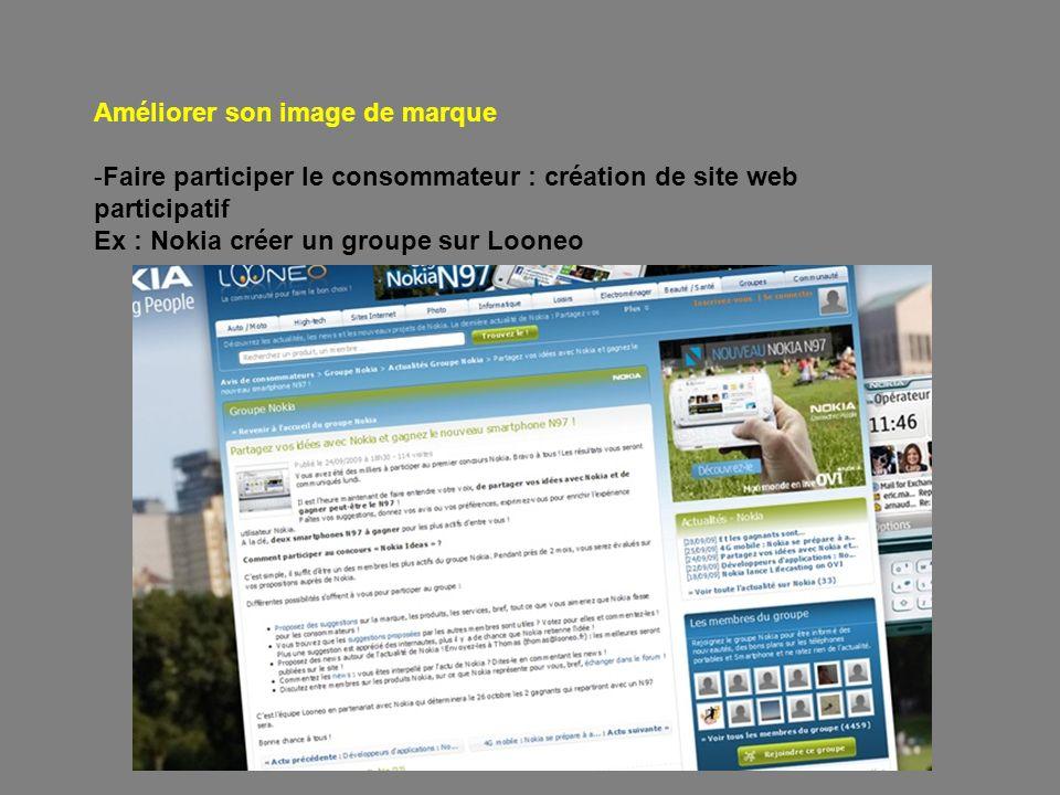 Améliorer son image de marque -Faire participer le consommateur : création de site web participatif Ex : Nokia créer un groupe sur Looneo