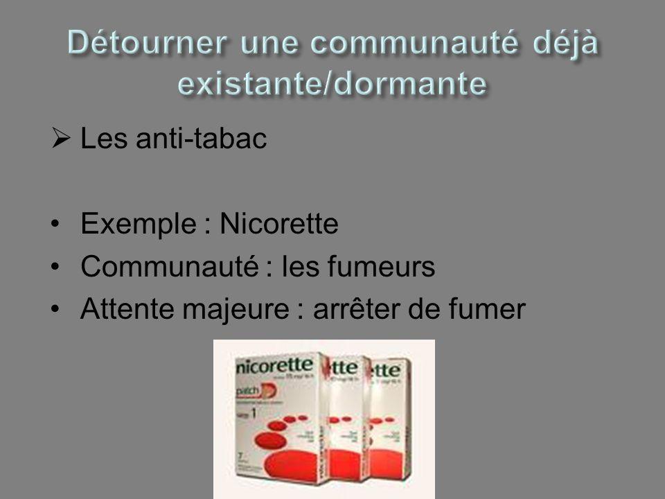 Les anti-tabac Exemple : Nicorette Communauté : les fumeurs Attente majeure : arrêter de fumer