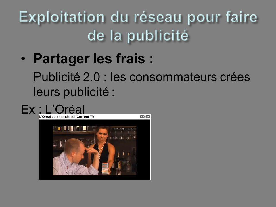 Partager les frais : Publicité 2.0 : les consommateurs crées leurs publicité : Ex : LOréal