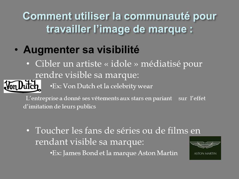 Augmenter sa visibilité Cibler un artiste « idole » médiatisé pour rendre visible sa marque: Ex: Von Dutch et la celebrity wear Lentreprise a donné se