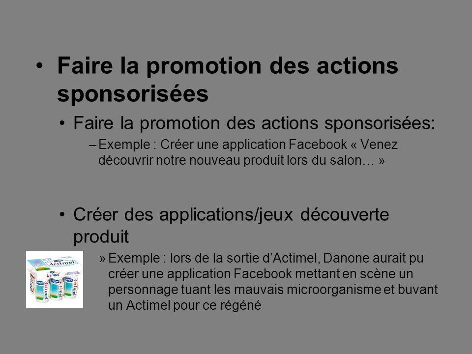 Faire la promotion des actions sponsorisées Faire la promotion des actions sponsorisées: –Exemple : Créer une application Facebook « Venez découvrir n