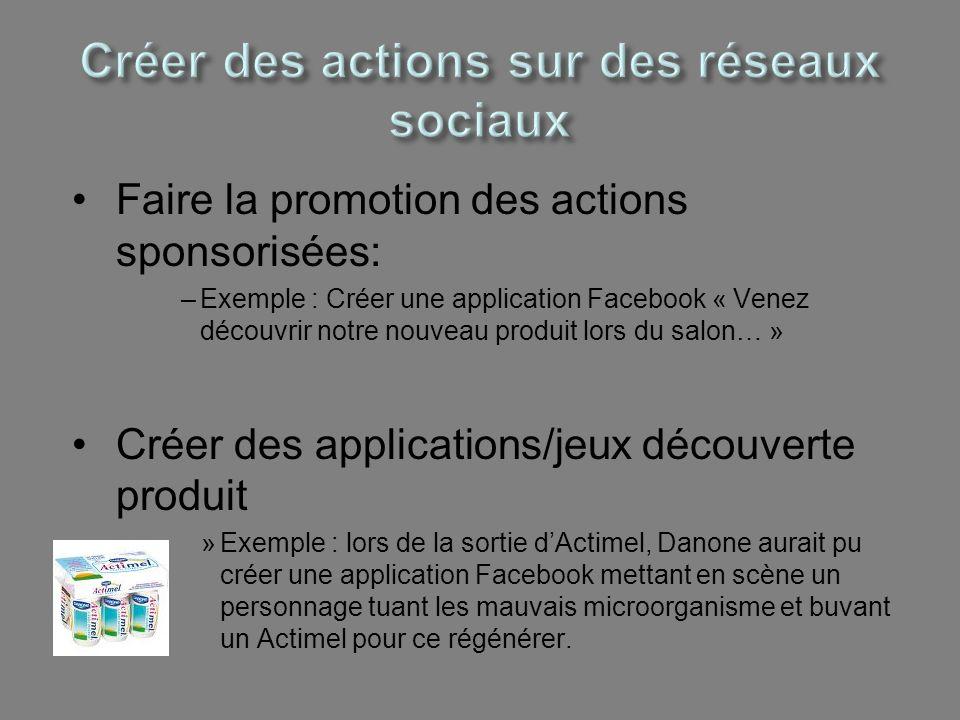 Faire la promotion des actions sponsorisées: –Exemple : Créer une application Facebook « Venez découvrir notre nouveau produit lors du salon… » Créer
