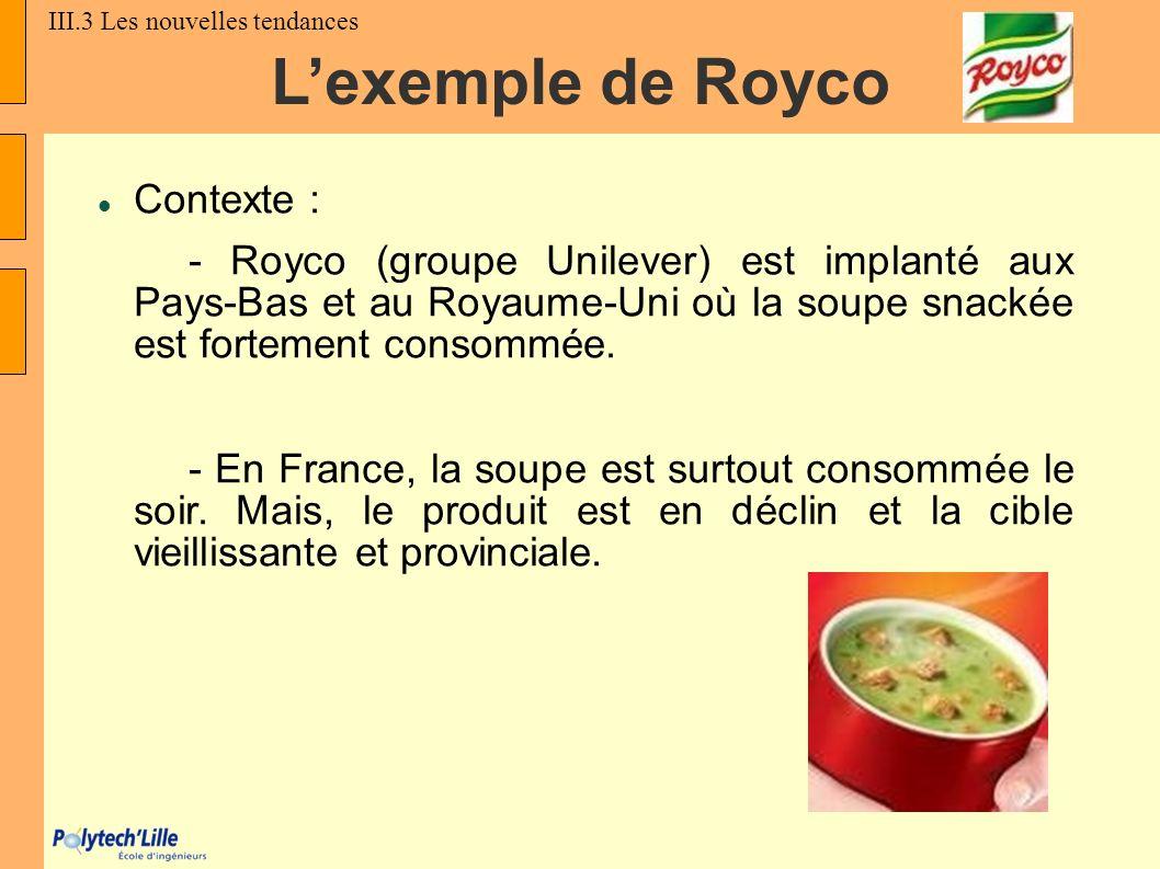 Lexemple de Royco Contexte : - Royco (groupe Unilever) est implanté aux Pays-Bas et au Royaume-Uni où la soupe snackée est fortement consommée. - En F