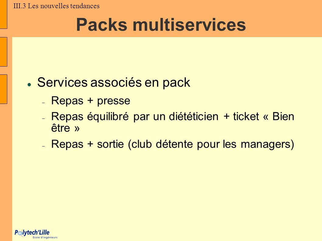 Packs multiservices Services associés en pack Repas + presse Repas équilibré par un diététicien + ticket « Bien être » Repas + sortie (club détente po