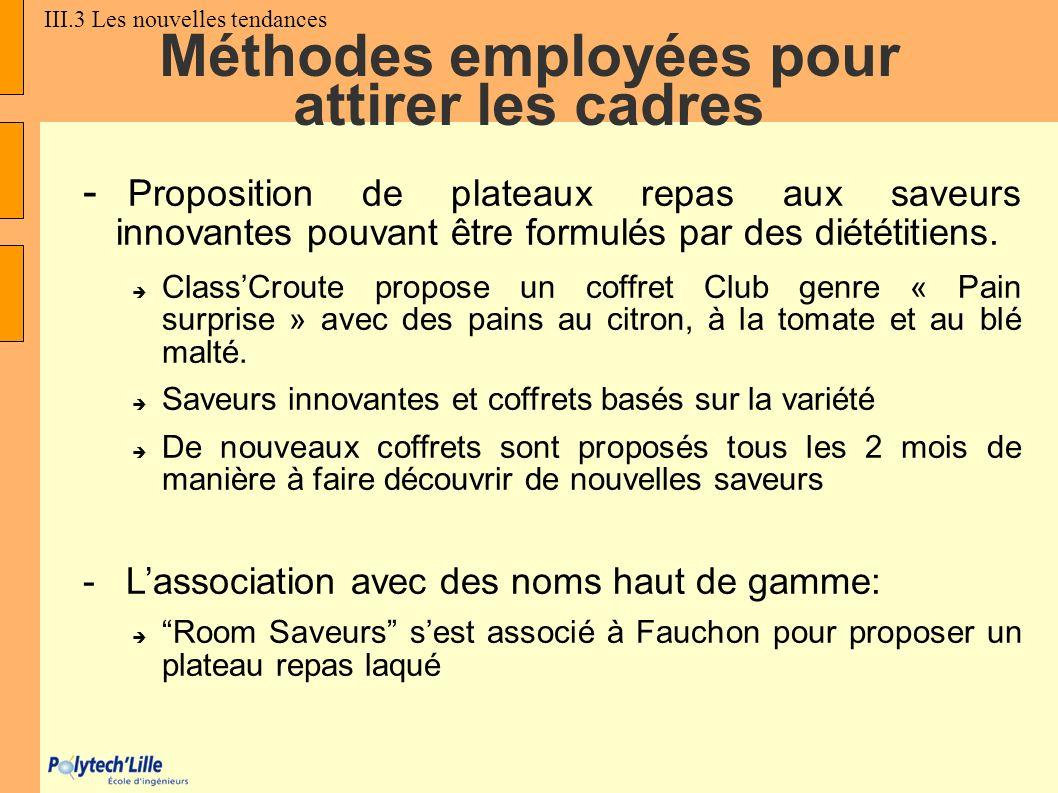 Méthodes employées pour attirer les cadres - Proposition de plateaux repas aux saveurs innovantes pouvant être formulés par des diététitiens. ClassCro