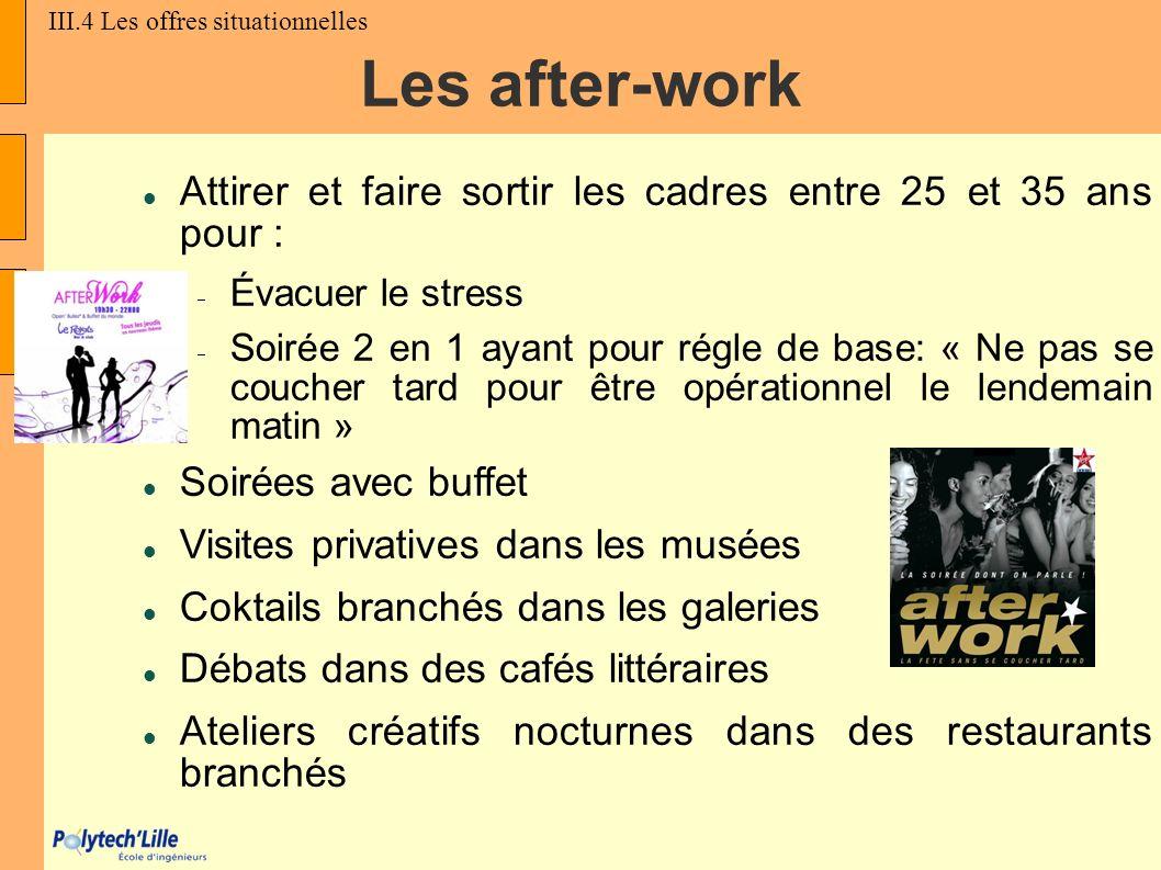 Les after-work Attirer et faire sortir les cadres entre 25 et 35 ans pour : Évacuer le stress Soirée 2 en 1 ayant pour régle de base: « Ne pas se couc
