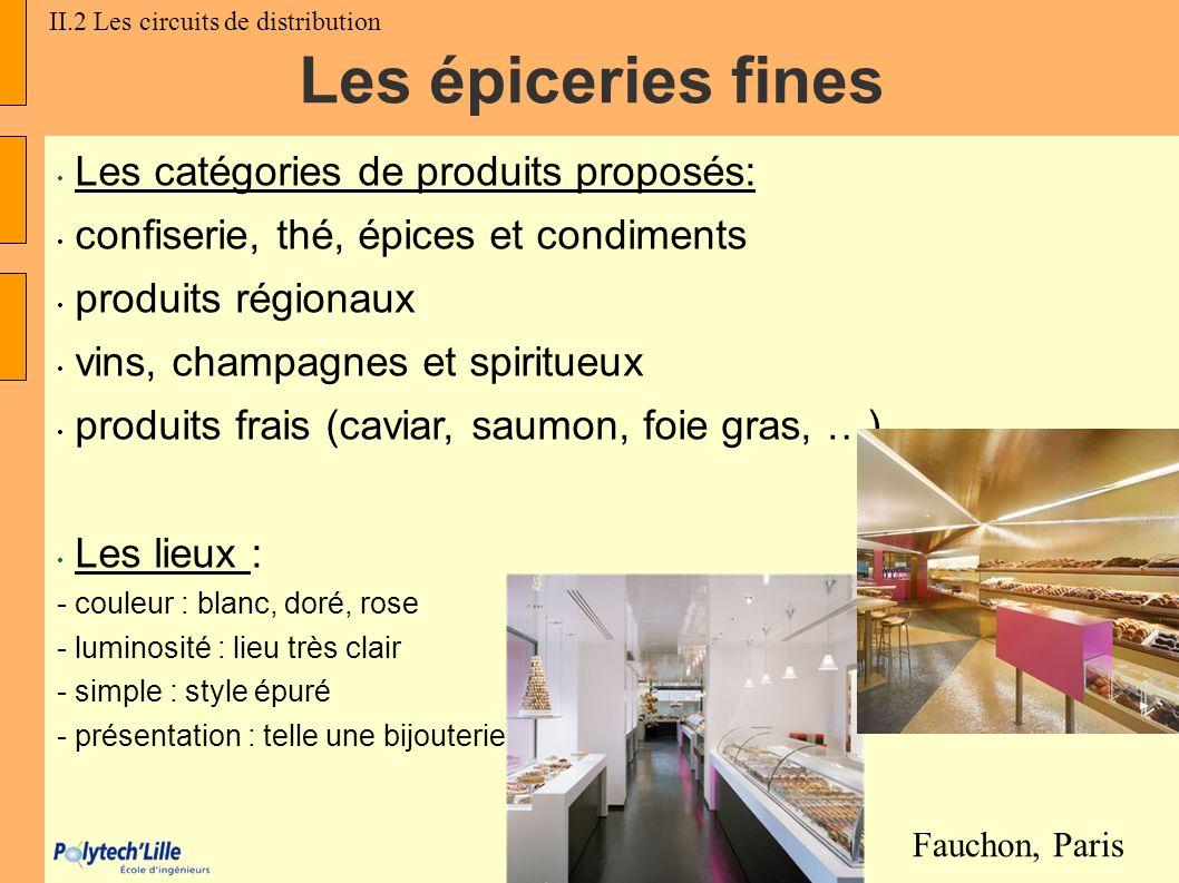 Les épiceries fines Les catégories de produits proposés: confiserie, thé, épices et condiments produits régionaux vins, champagnes et spiritueux produ