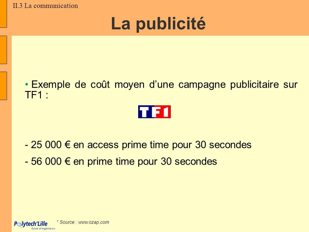 Exemple de coût moyen dune campagne publicitaire sur TF1 : - 25 000 en access prime time pour 30 secondes - 56 000 en prime time pour 30 secondes 1 So