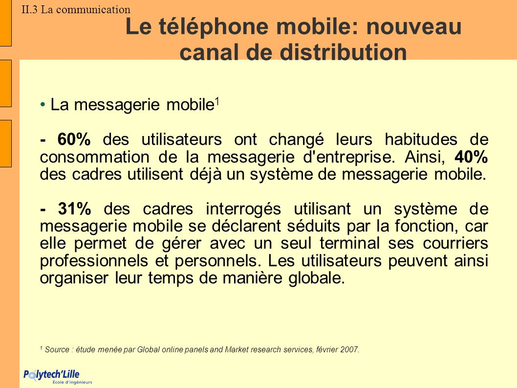 La messagerie mobile 1 - 60% des utilisateurs ont changé leurs habitudes de consommation de la messagerie d'entreprise. Ainsi, 40% des cadres utilisen