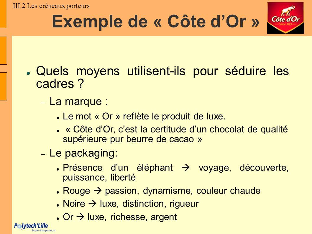 Exemple de « Côte dOr » Quels moyens utilisent-ils pour séduire les cadres ? La marque : Le mot « Or » reflète le produit de luxe. « Côte dOr, cest la