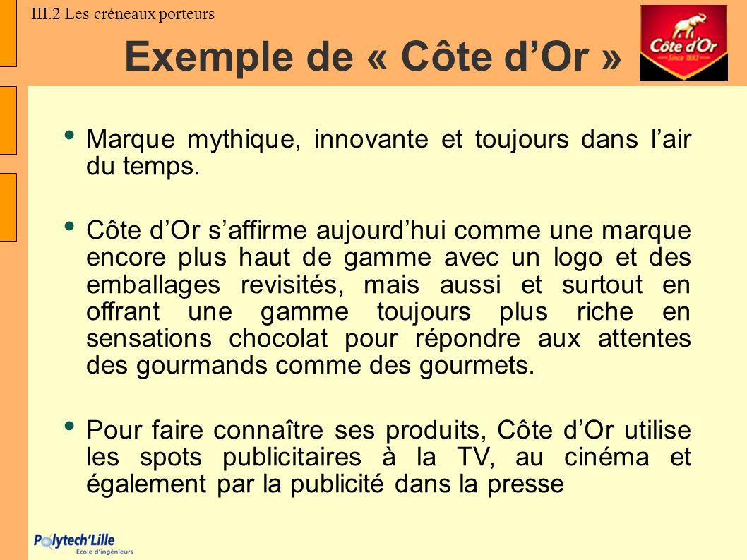 Exemple de « Côte dOr » Marque mythique, innovante et toujours dans lair du temps. Côte dOr saffirme aujourdhui comme une marque encore plus haut de g