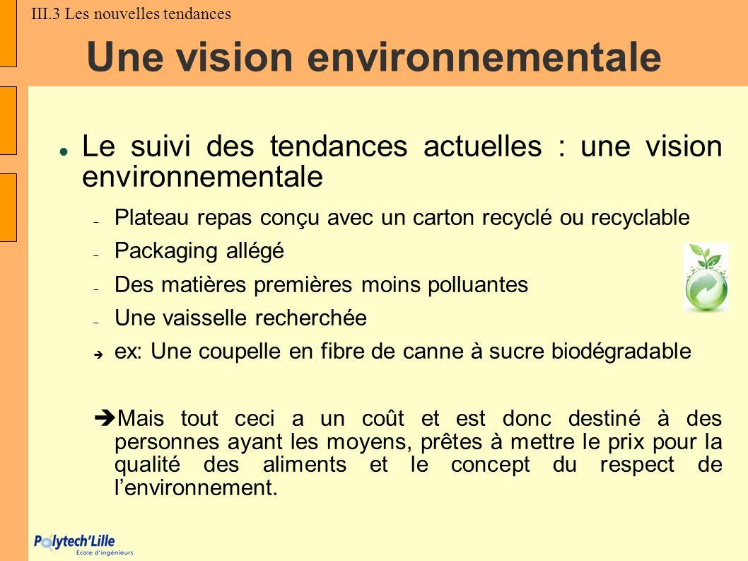 Une vision environnementale Le suivi des tendances actuelles : une vision environnementale Plateau repas conçu avec un carton recyclé ou recyclable Pa