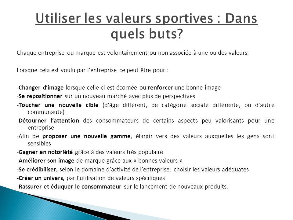 Utiliser les valeurs sportives : Dans quels buts? Chaque entreprise ou marque est volontairement ou non associée à une ou des valeurs. Lorsque cela es