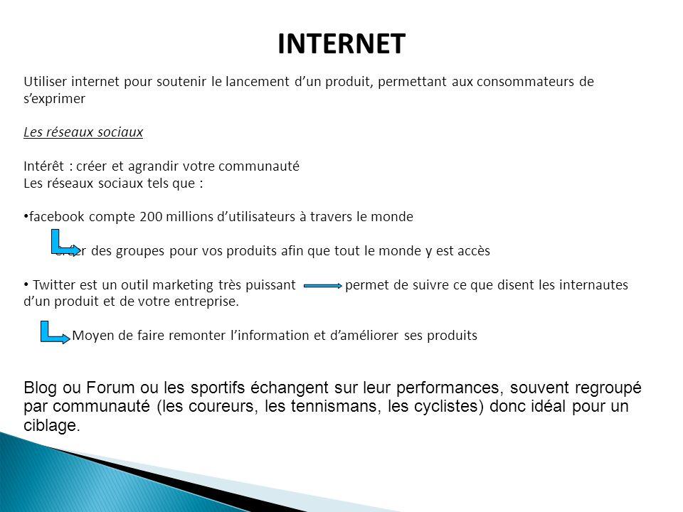 INTERNET Utiliser internet pour soutenir le lancement dun produit, permettant aux consommateurs de sexprimer Les réseaux sociaux Intérêt : créer et ag