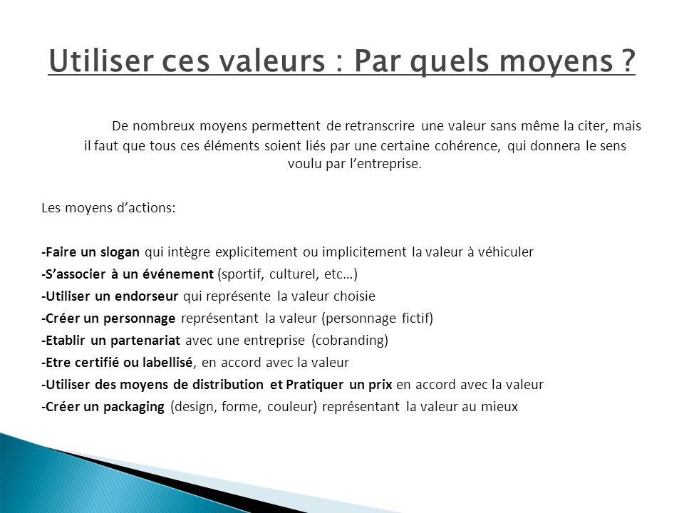 Utiliser ces valeurs : Par quels moyens ? De nombreux moyens permettent de retranscrire une valeur sans même la citer, mais il faut que tous ces éléme