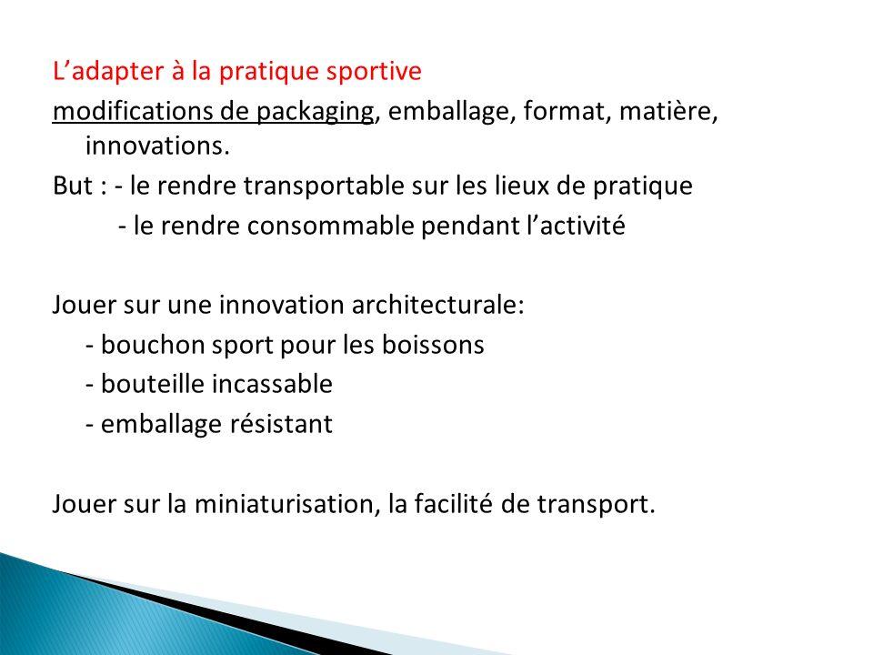 Ladapter à la pratique sportive modifications de packaging, emballage, format, matière, innovations. But : - le rendre transportable sur les lieux de