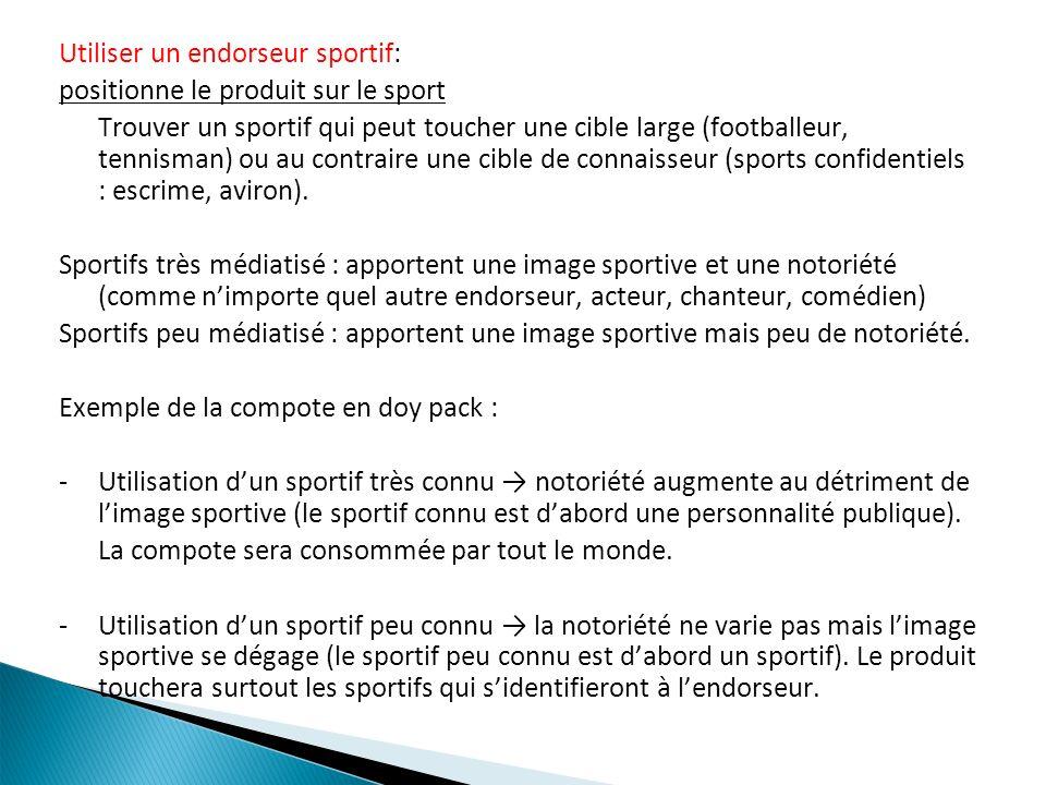 Utiliser un endorseur sportif: positionne le produit sur le sport Trouver un sportif qui peut toucher une cible large (footballeur, tennisman) ou au c