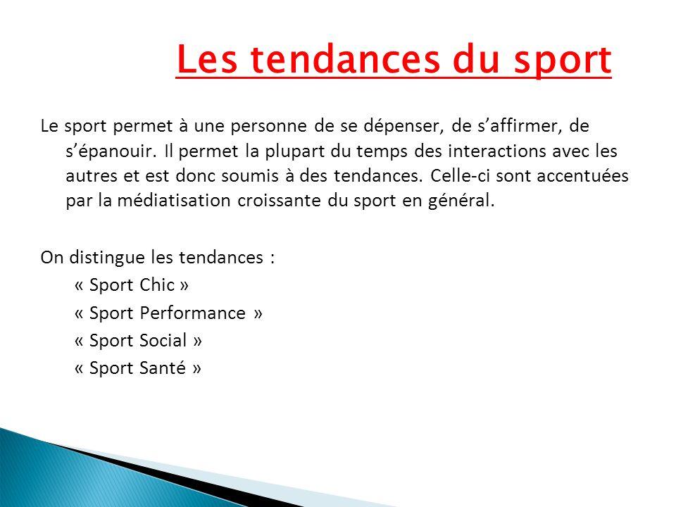 Les tendances du sport Le sport permet à une personne de se dépenser, de saffirmer, de sépanouir. Il permet la plupart du temps des interactions avec