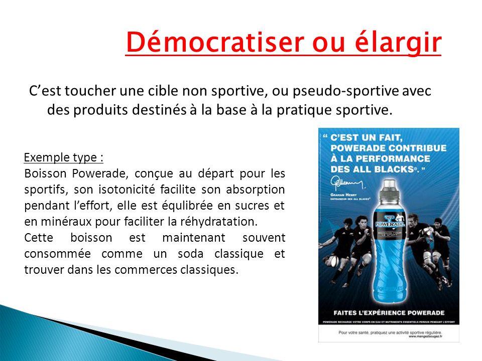 Démocratiser ou élargir Cest toucher une cible non sportive, ou pseudo-sportive avec des produits destinés à la base à la pratique sportive. Exemple t